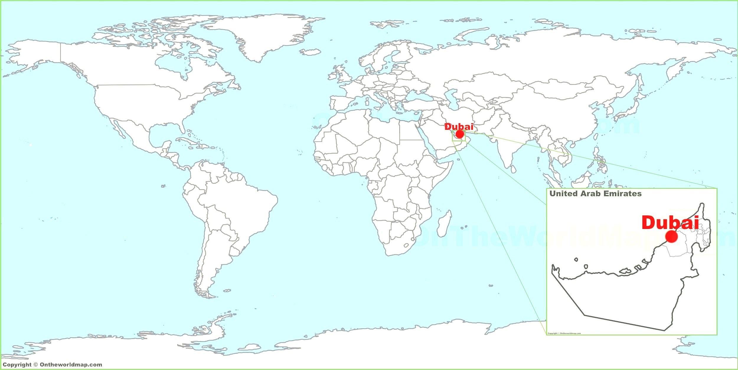 показать на карте мира дубай